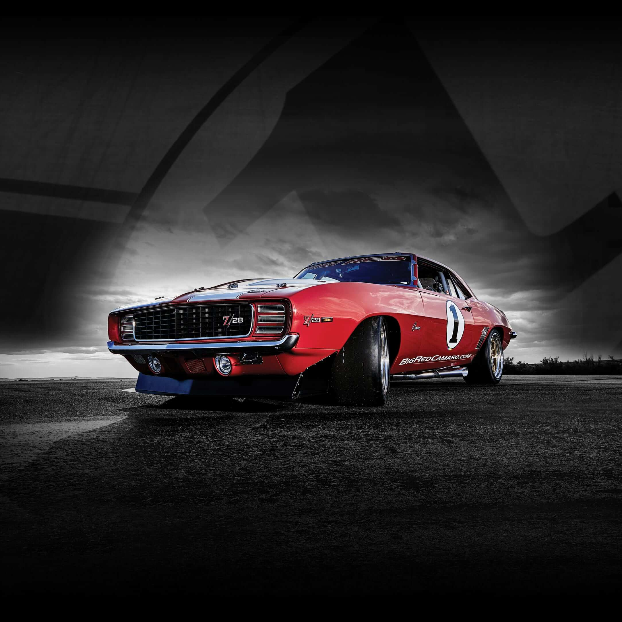 Big Red Camaro Front Beauty Shot with Grey Background