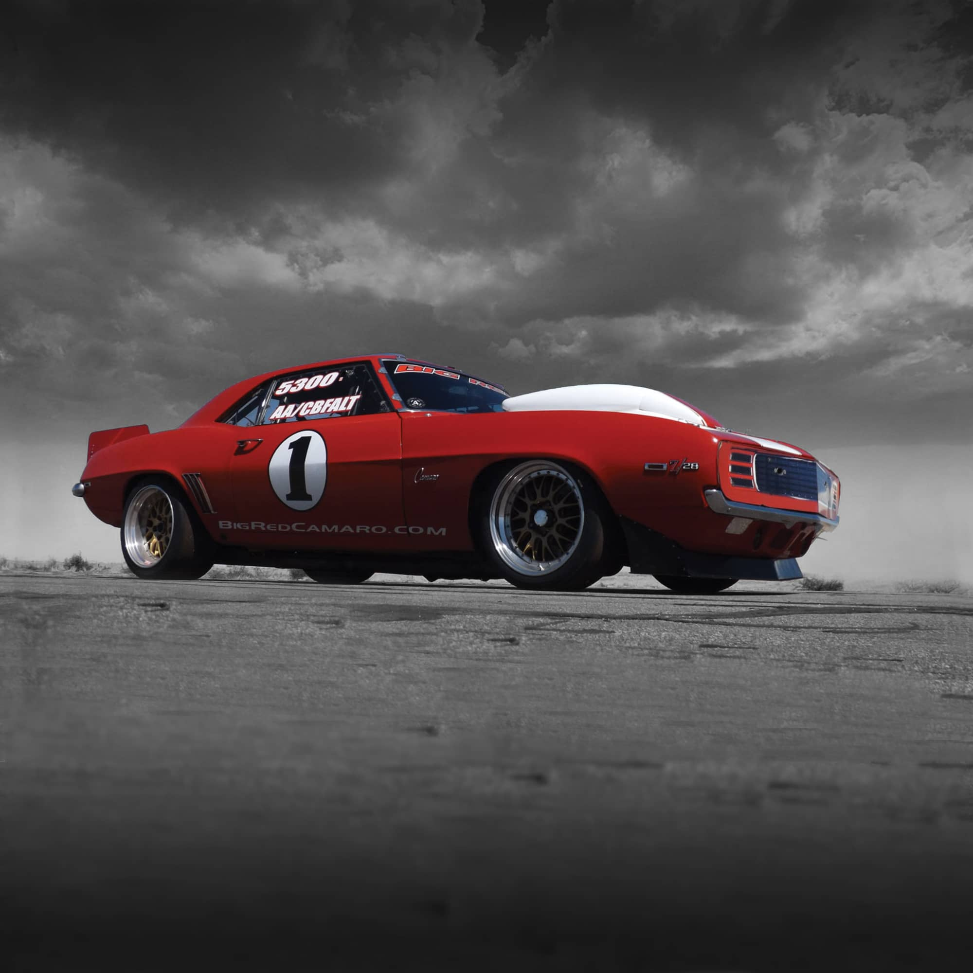 Big Red Camaro Front Side Beauty Shot with Grey Background